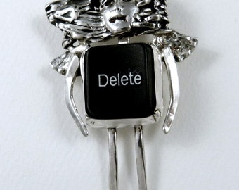 Angel Kaylee And Her Delete Key - Sterling Silver, A Black Computer Key, And PMC - Computer Angel - Geek Angel Art Jewelry Pendant - 1936