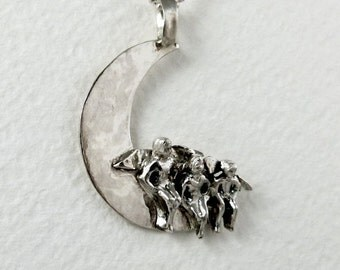 Sterling And PMC Angel Pendant - Angels Hazel, Twyla, and Theo Sit On The Moon - Women - Strength - Empowerment - Art Jewelry Pendant - 1640