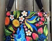 Diaper Bag, Cross Body Purse, Large, zipper closure, lots of pockets - Flowers, Birds, Strawberries and Sun