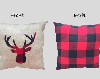 Deer pillow, buffalo plaid pillow, cabin decor, lodge decor, woodland decor, Christmas pillow, burlap pillow, decorative pillow, plaid deer