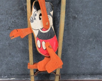 1930s Mickey Mouse Acrobat Trapeze Toy, Marks Brothers Company, Vintage Disney Wood Toy, Pie Eye Mickey Mouse