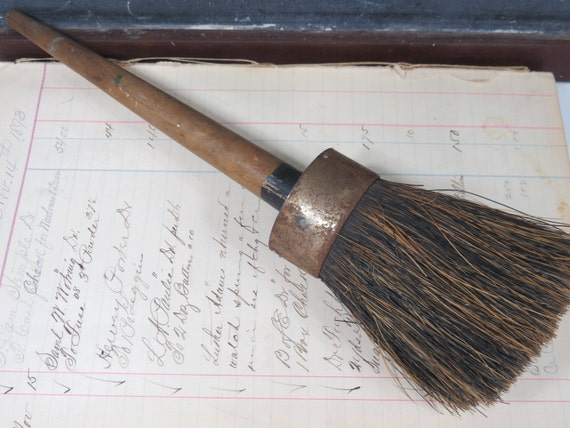 Antique Horse Hair Stencil Stipple Brush Wooden Handle