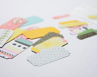 Label Tag Bracket Paper Die Cuts . 30 Piece Set . Shape Cardstock Notebook Paper Scrapbooking Planner Supplies Listers Gotta List Midori