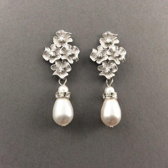 Bridal Earrings In Silver With Cubic Zirconia  And Cream Swarovski Crystal Teardrop Pearls