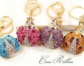 Rhinestone Crystal Ladybug Alloy Key Chain Key Ring Keychain B45