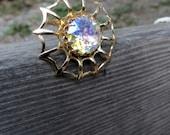 Spider Web Brooch Big Bold Rhinestone Vintage Goldtone SpiderWeb Round Brooch Pin