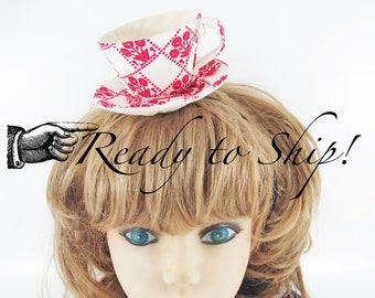Ready to Ship! Textile Teacup Fascinator-Red Flower Pots on White *Alice in Wonderland's Mad Hatter Tea Party!*