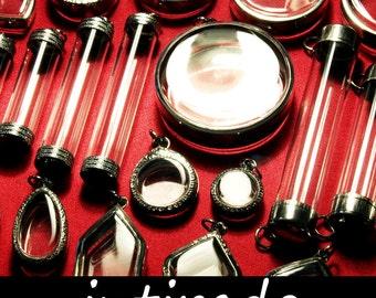 Shadow Box Pendants, Locket Cases, Intirado, Marimo, Terrarium Jewelry, Living Plant Jewelry, Wholesale Lockets, Vial, Planter, 25pcs