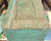 Vintage Wooden Painted Crate, Old Fruit Crate, Antique Wooden Box, Old Green Paint, San Francisco, Kitchen Decor, Garden Box