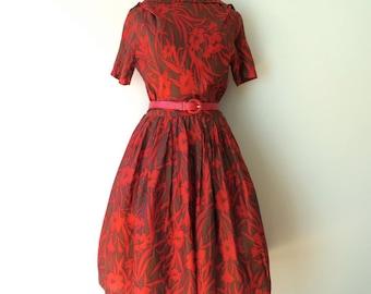 "Vintage 1950's/Red Print Full Skirt Dress//50's Red Floral Swing Dress Medium/Fit and Flare Dress/The Jones Girl/29"" Waist/Medium"