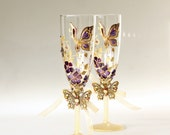 Wedding Champagne Glasses,Champagne Flutes, Butterfly Glasses, Purple Wedding Glasses, Hand Painted set of 2
