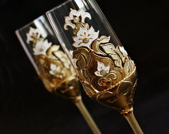 Gold Wedding Glasses, Champagne Glasses, Wine Glasses, Hand Painted, Set of 2