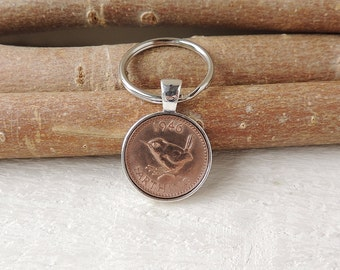 1946 Farthing Coin Keyring, 1946 Birthday, 1946 Anniversary, UK Coin with Jenny Wren under Resin Keyring, Birthday Anniversary Gift, UK 2212