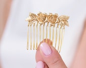 Rose flowers and leaves golden hair comb for bridesmaids or brides wedding accessories