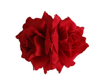 Double Red Rose Flower Hair Clip