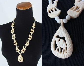 SALE Vintage Necklace - Carved Plastic Necklace - Camel Necklace - White Beaded Necklace