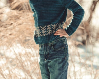 """KNITTING PATTERN PDF file for boys and girls color work pullover-""""lodgepole"""""""