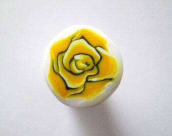 Yellow Cane, Rose Polymer Clay Cane, Flower Cane, Millefiori Cane, Canes, Unbaked Cane, Jewelry, Nail Art, FIMO