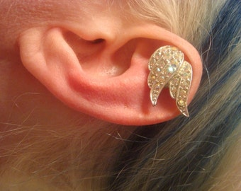 Angel Wing Ear Cuff - Angel Earring - Swarovski Crystal No Pierce Earring - Crystal Ear Cuff