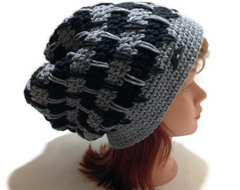 Houndstooth Hat, Mustache Hat, Grey and Black Hat, Geometric Slouchy Hat, Slouchy Tam, Hat with Mustache, Hipster Beanie, Slouchy Winter Hat