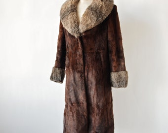 70's Fur Coat Brown Sheared Fur Czech Full Length Coat with Faux Fur Trim size M