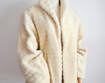 1940s Cream mohair lantern sleeve swing jacket / 40s Rumonte coat S M
