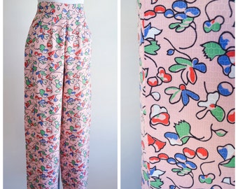 1930s Pink printed cotton palazzo pants / 30s wide leg beach trousers - XS