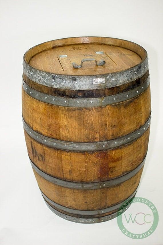 Barrel Receptacle Wine Barrel Trash Can W