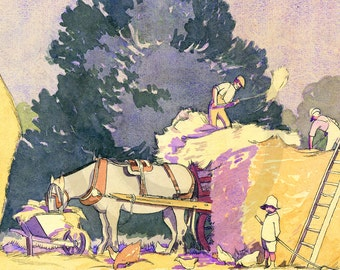 Autumn Harvest, Loading Hay, Childhood Memories, Country Life, Country Living, Art Deco, 1920s, Art Print