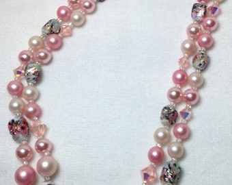 Pink Beaded Necklace // Two Strand // Vintage // Japan