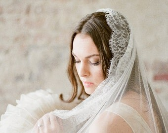 Mantilla Veil, Lace Wedding Veil, Chapel Length Wedding Veil, Lace Mantilla Veil, French Lace Veil, Mantilla Bridal Veil, Lace Bridal Veil