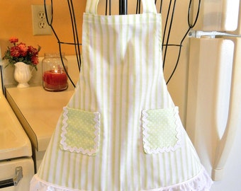 Vintage Style Toddler Apron in Pastel Green Stripes with Polka Dots