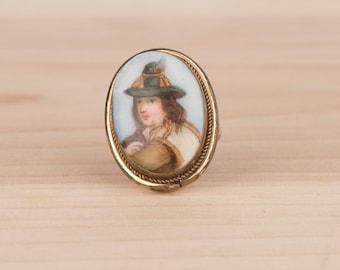 Victorian Gypsy Porcelain Portrait Ring Tyrolean Vagabond Boy
