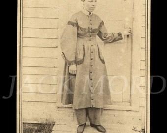 "Very Rare 1860s CDV Photo Woman in Pants ~ Civil War Female Doctor ~ ""LOVE"" on Negative"