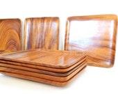 Monkey Wood Plates Trays / Set of 12 / Square Shape