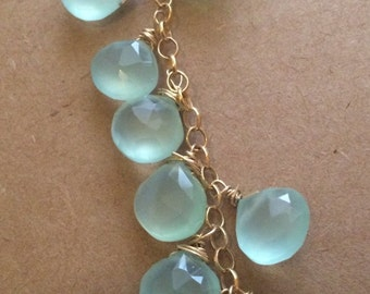 Seafoam chalcedony waterfall necklace