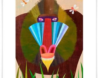 Mandrill, Giclee Art Print // Safari // Baboon