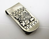 Peru Sterling Silver Bar Money Clip. South American Inca Warrior Figure. Vintage Men's Wallet Accessory. Gifts For Him.