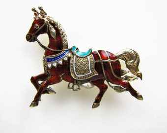 VALAI Siam Silver Gold Gilded Enameled Royal Horse Brooch. Antique Siam Sterling Vermeil. Figural Equestrian Lapel Pin. Early Siam Silver