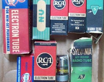 Lot of 9 Vintage Radio Tubes - National Union, Sylvania, RCA, Hytron, Reliatron -old