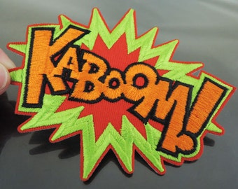 KABOOM Letter Patches - Large Iron on Patch or Sewing on Patch Letter Patches KA Boom Green Orange Red Patch Embellishments Embroidery fonts