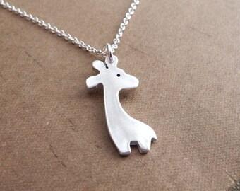 Mini Giraffe Necklace, Little Silver Giraffe, Fine Silver, Sterling Silver Chain, Made To Order