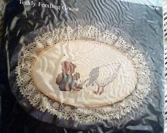1985 Teddy Feeding Goose Dale Burdett Needlepoint