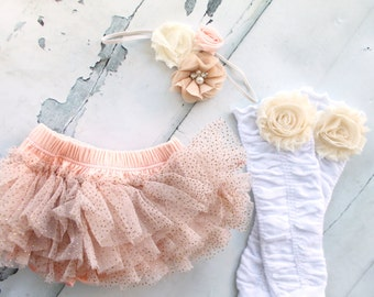 Easter Spring Peach and Gold Baby Girl Chiffon and Ruffles Diaper Cover, Rose Leg Warmers, and Headband Set.  Easter Dress Accessories