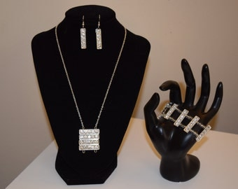 Rhinestone necklace, earrings, and bracelet set