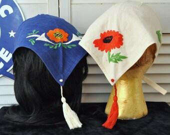Vintage Drindl Head Scarfs/Set of Two/European October Fest/Austrian Swiss German/Embroidery Tassle/Theater Costume/Blue White Womens Girls
