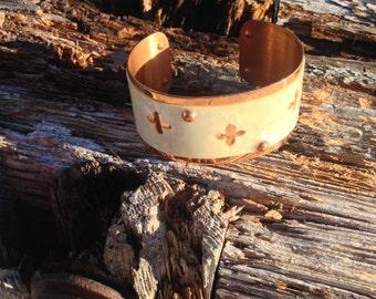 Copper Cuff Bracelet With Seashell Inlay, Vintage Bracelet Jewelry, Womens Jewelry, Copper Bronze Cuff Bracelet