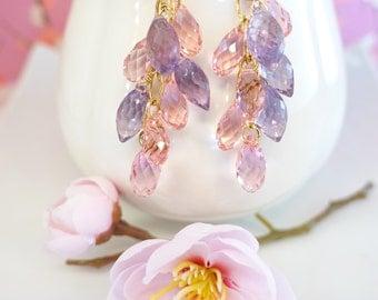 Pink Swarovski and Purple Amethyst Cluster Chandelier Earrings - Valentines Day pink and purple chandelier earrings, February birthstone
