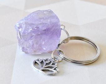 Amethyst Keyring, Rough Amethyst Gemstone, Lotus Flower, Key Ring, Keychain, Purple Keyring, Yoga Gifts, UK Accessories, Gift for Her