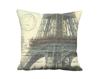 Pillow Cover - Pillow - La Tour Eiffel French Postcard Paris France - 16x 18x 20x 22x 24x 26x 28x 30x 32x Inch Linen Cotton Cushion Cover